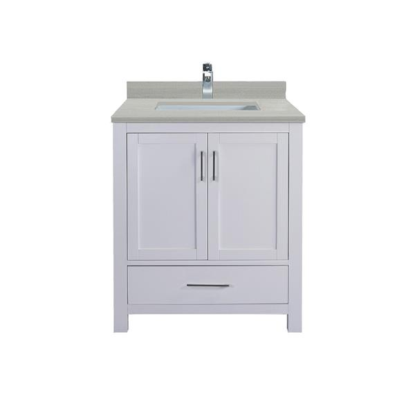 GEF Meuble-lavabo Willow avec comptoir Surface solide , 30 po. blanc