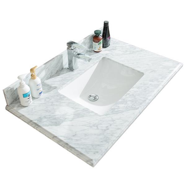 GEF Meuble-lavabo Willow avec comptoir en marbre , 36 po. blanc