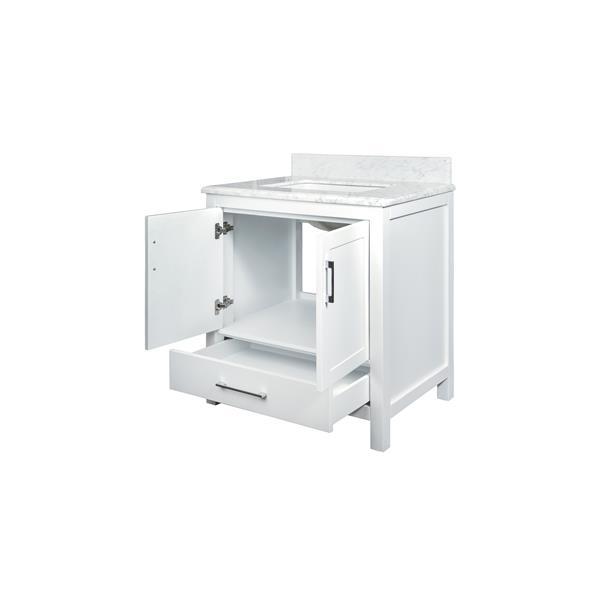 GEF Meuble-lavabo Willow avec comptoir en marbre , 30 po. blanc