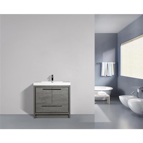 GEF Meuble-lavabo Ember avec comptoir acrylique , 36 po. gris