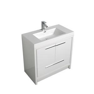 GEF Meuble-lavabo Ember avec comptoir acrylique , 36 po. blanc