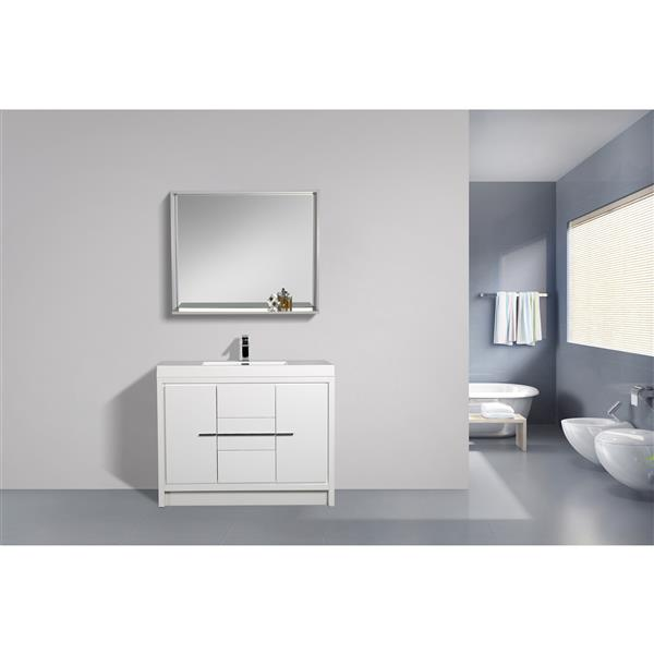 GEF Ember Vanity with Acrylic Top, 42-in White