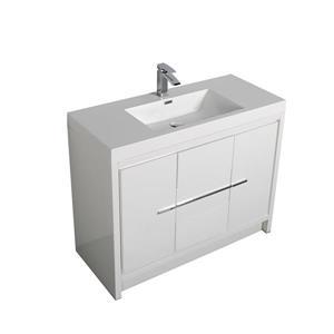 GEF Ember 42-in White Single Sink Bathroom Vanity Set with White Acrylic Top