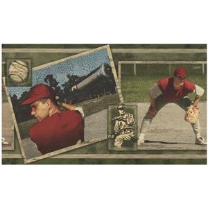 Norwall Baseball Players in Pictures Wallpaper Border