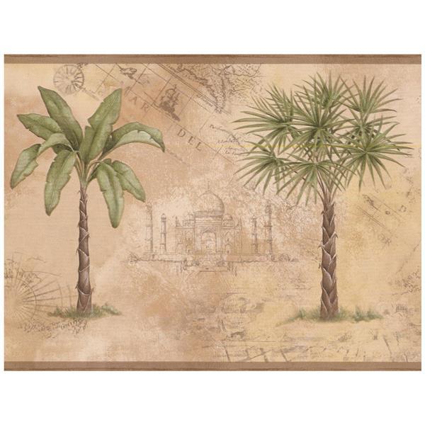 Norwall Palm Trees Wallpaper Border - Green/Beige
