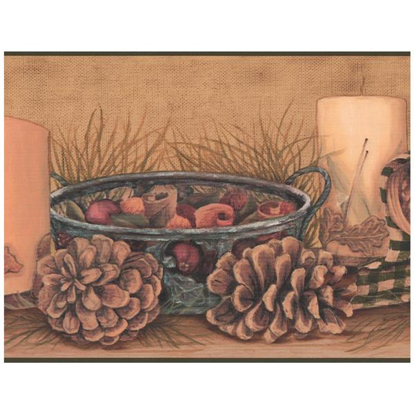 York Wallcoverings Pine Cones and Candles Wallpaper Border - Brown