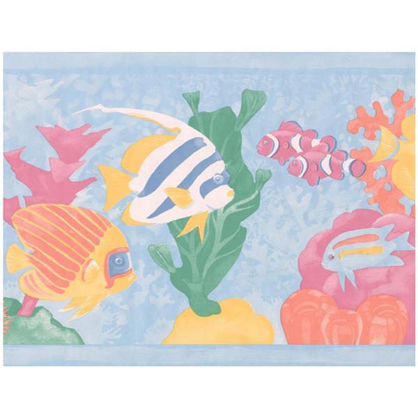 Retro Art Cartoon Colorful Fish Wallpaper - Blue