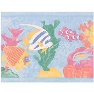 Retro Art Cartoon Colorful Fish Wallpaper - Blue