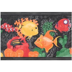Retro Art Cartoon Colorful Fish Wallpaper Border - Black