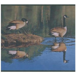 Retro Art Ducks in Pond Nature Wallpaper Border