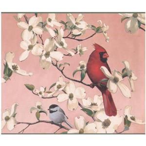Retro Art Colorful Birds and Flowers Wallpaper