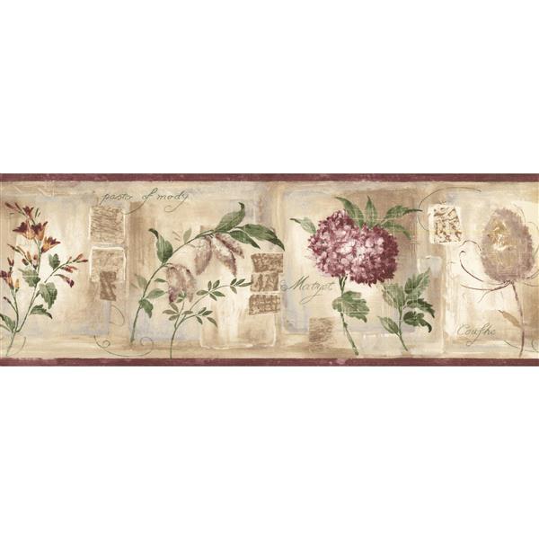 Norwall Vintage Flowers Distressed Wallpaper