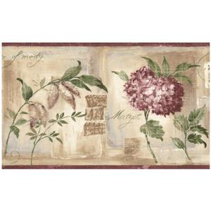 Norwall Vintage Flowers Distressed Wallpaper