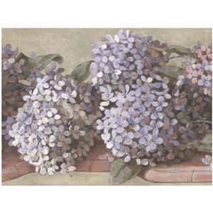 York Wallcoverings Hydrangea and Hortensia Floral Wallpaper - Lavender/White