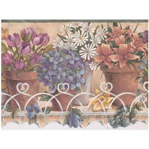 Retro Art Flowers in Pots Wallpaper - Mulitcoloured
