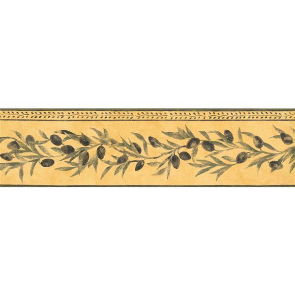 Norwall Black Olives on Vine Wallpaper - Yellow