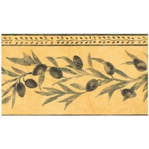 Norwall Black Olives on Vine Wallpaper - Yellow