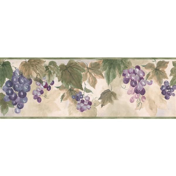 York Wallcoverings Grapes Faux Painted Floral Wallpaper - Mauve/Violet