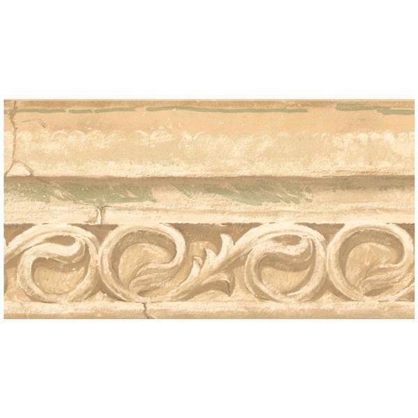 York Wallcoverings Faux Stone Damask Scrolls Wallpaper - Yellow