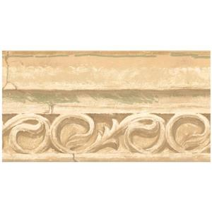 York Wallcoverings Faux Stone Damask Scrolls Wallpaper - Yellow