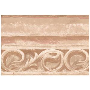 York Wallcoverings Victorian Faux Stone Damask Scrolls - Brown