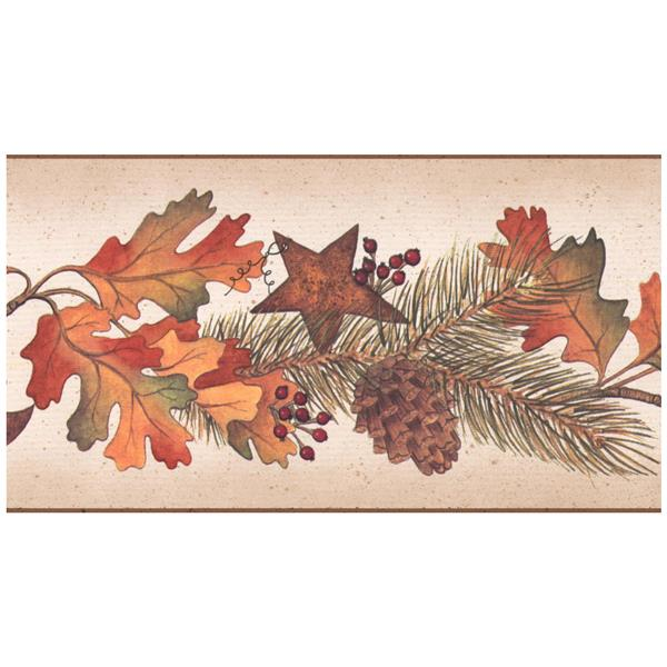 Retro Art Oak Leaves and Acorns Wallpaper