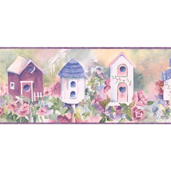 Chesapeake Birdhouse and Flowers Wallpaper -  Cobalt Blue/White