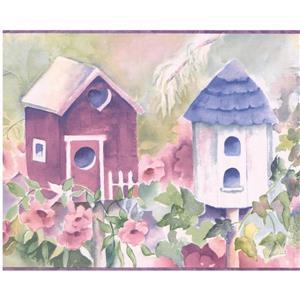 Birdhouse and Flowers Wallpaper -  Cobalt Blue/White