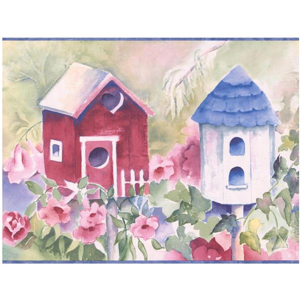 Chesapeake Birdhouses and Flowers Wallpaper - Multicoloured