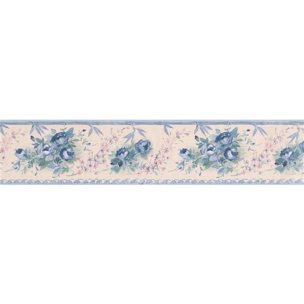 Norwall Retro Floral Wallpaper - Blue/Beige
