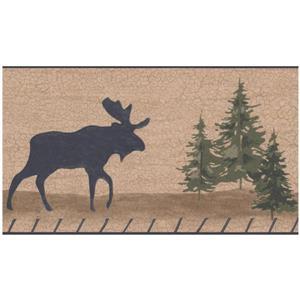 Retro Art Moose and Bear Cracked Wallaper - Light Brown