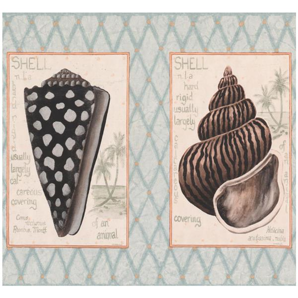 York Wallcoverings Seashells in Squares Nautical Wallpaper