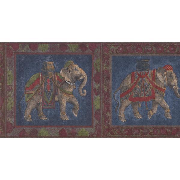 York Wallcoverings Saddled Elephants Wallpaper - Indigo/Blue