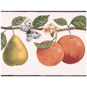Retro Art Apple Pear on Vine Butterfly Wallpaper -  Off-White