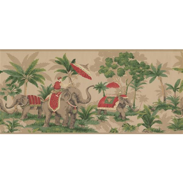 York Wallcoverings Elephants and Palm Trees Wallpaper - Grey