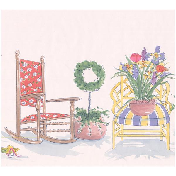 Retro Art Cartoon Victorian Chair and Flowers Wallpaper