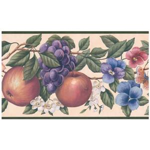 Retro Art Fruits and Flowers Wallpaper - Multicolour