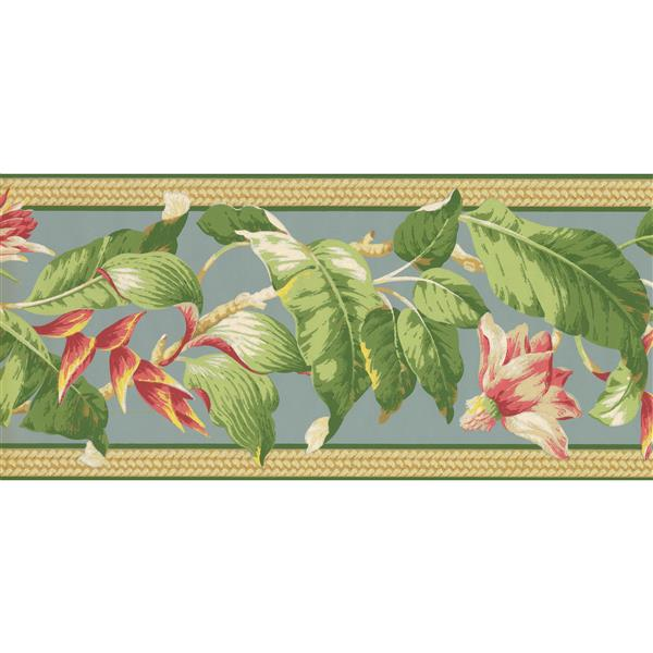 York Wallcoverings Painted Flowers on Vine Wallpaper - Pink/Sage