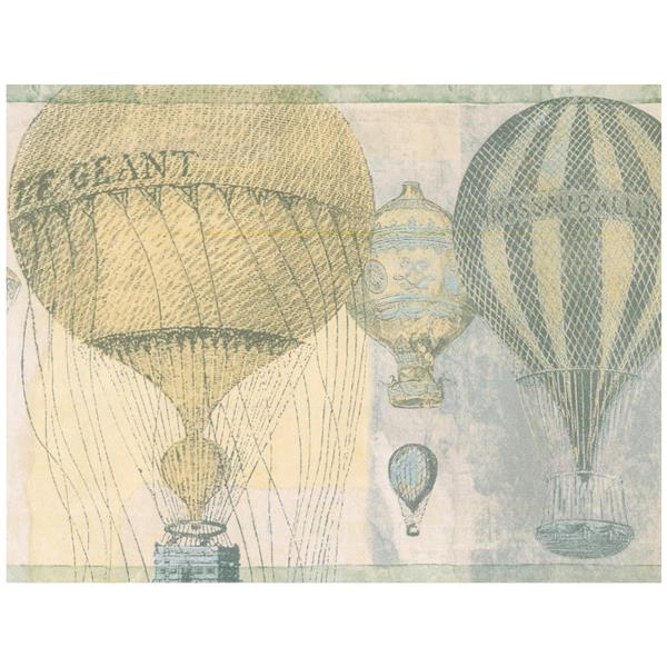 Norwall Vintage Hot Air Baloon Wallpaper - Yellow/Grey
