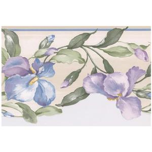Norwall Prepasted Flowers on Vine Wallpaper - Purple/Blue