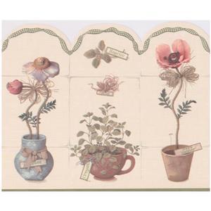 Retro Art Prepasted Spice Plants in Pots Wallpaper