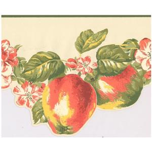 York Wallcoverings Prepasted Apples and Flowers Wallpaper