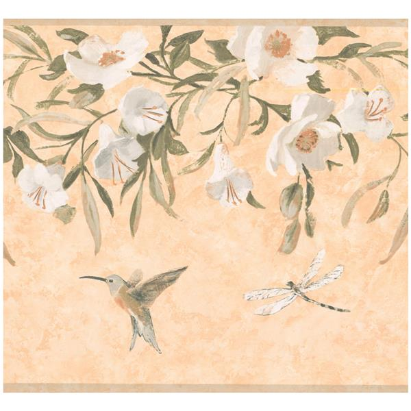 York Wallcoverings Prepasted Hummingbird and Dragonfly Wallpaper - White