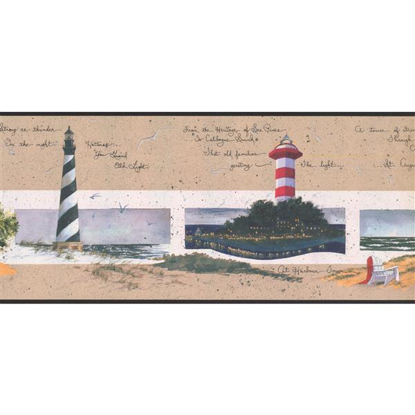 York Wallcoverings Prepasted Lighthouses on Seashore  Wallpaper