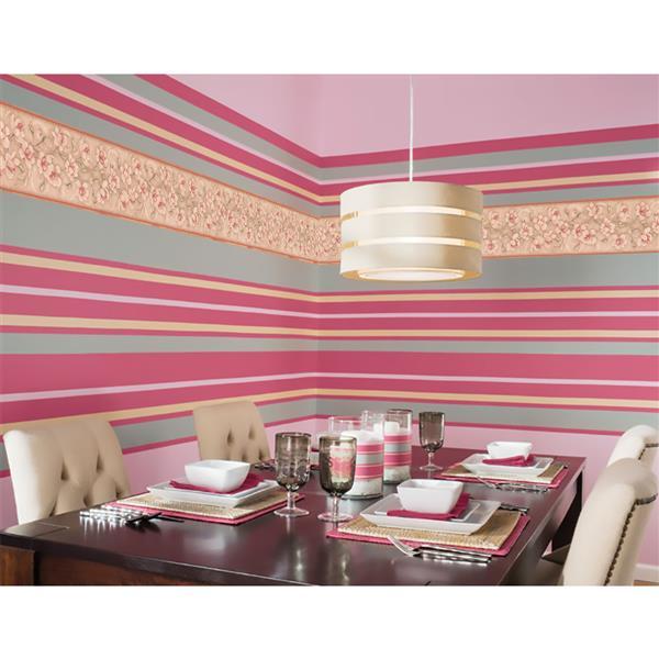 York Wallcoverings Prepasted Flowers on Vine Wallpaper - Pink