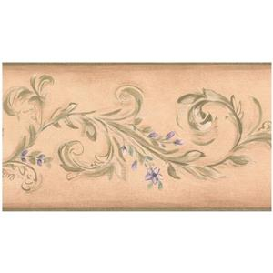 York Wallcoverings Prepasted Damask Vine Wallpaper - Green/Purple