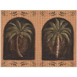 York Wallcoverings Prepasted Palm Trees in Windows Merigold Wallpaper