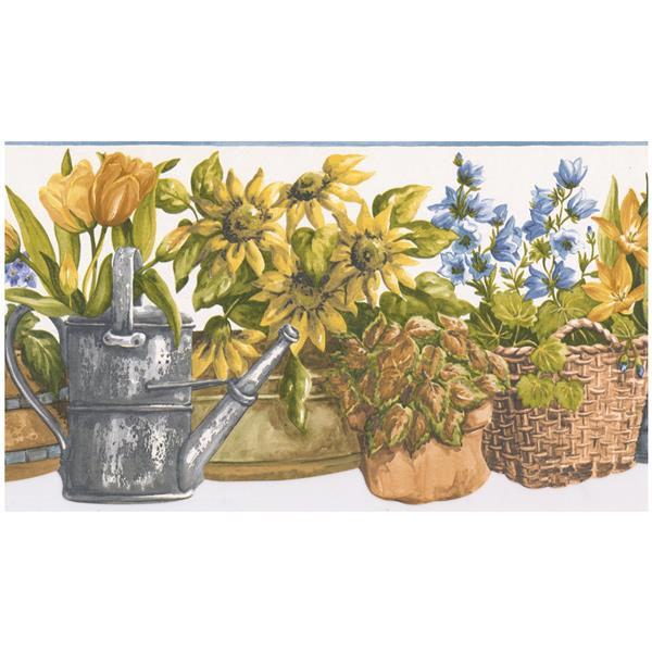 Norwall Prepasted Flowers in Baskets and Watering Can Wallpaper