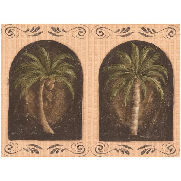 York Wallcoverings Prepasted Palm Trees in Windows Sepia Wallpaper - Tan