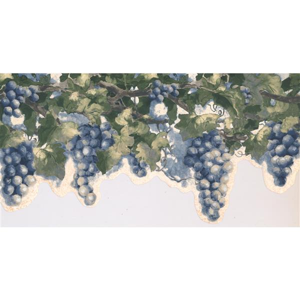 York Wallcoverings Prepasted Distressed Grapes Wallpaper - Blue/Mauve